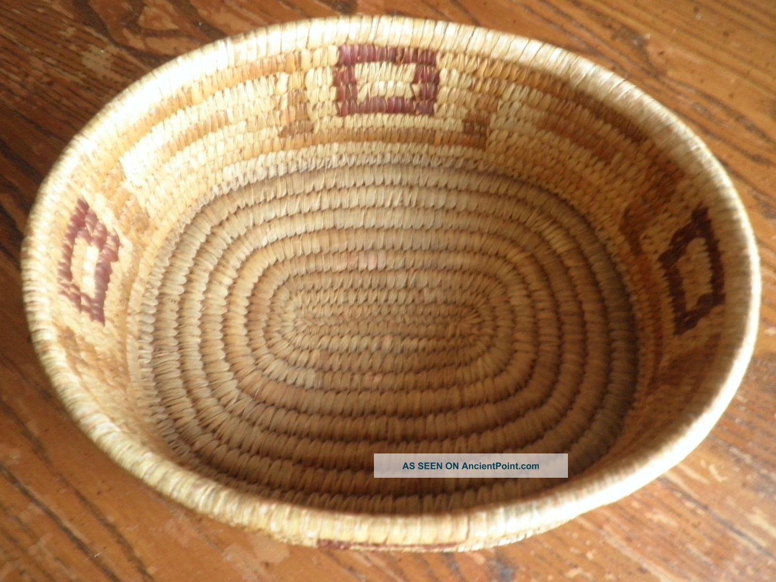 Antique Tohono O ' Odham Papago Yucca Devils Claw Basket W/geometric Motif No Resv Native American photo