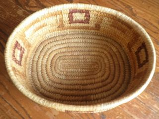 Antique Tohono O ' Odham Papago Yucca Devils Claw Basket W/geometric Motif No Resv photo