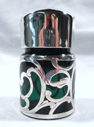 Fabulous Antique Art Nouveau Silver Overlay & Green Glass Perfume Scent Bottle photo