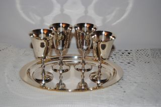 Reed & Barton Silver? Silverplate? Kiddush Shot Goblets With Tray photo