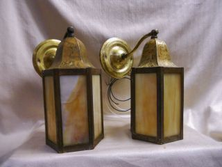 1907 Antique Slag Glass Outdoor Brass Lighting Fixtures W/new Wiring photo
