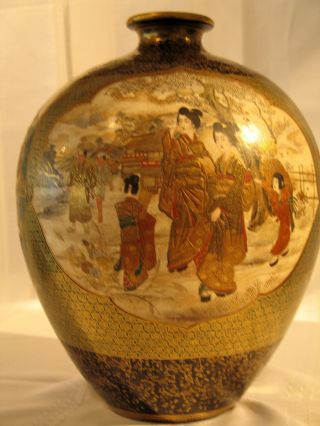 Antique Japanese Kinkozan Satsuma Vase.  A Collector ' S Piece.  Meiji Period. photo