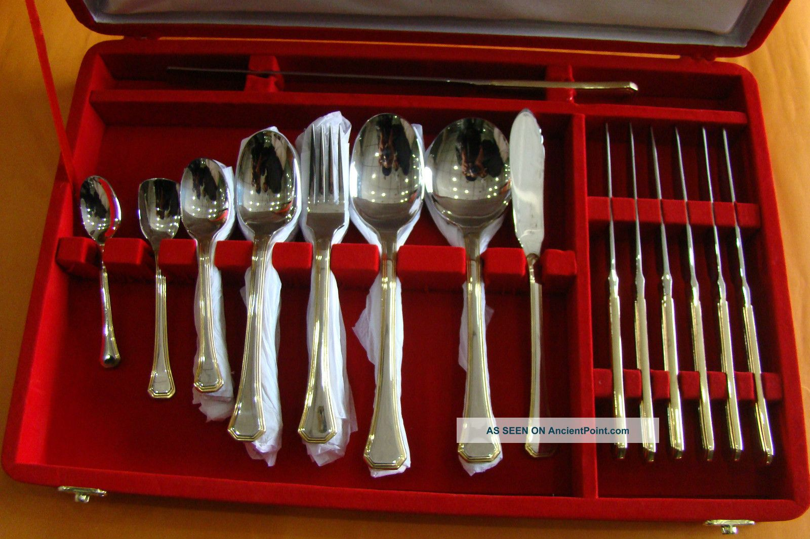 32 Pieces Of Gold Edge Set Ofstainles Steel Spoons Diamond Set By Gohaar Richard Other photo