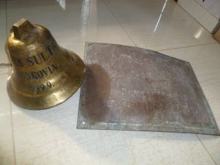 Marine Vintage Ship Brass Bell & Name Plate From Norasia Sultana Monrovia 1999 - 9 photo