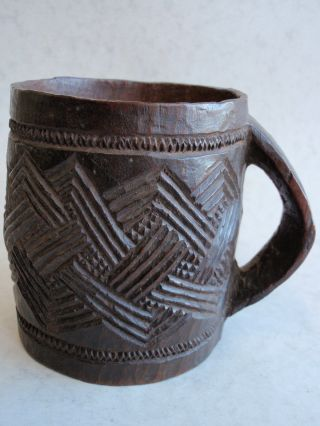 African Palm Wine Kuba Cup Nicely Carved With Pattern Circa 1900 photo