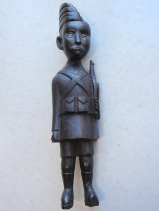 Africa Carved Statuette Kamba Kenya Of A Soldier In Uniform photo