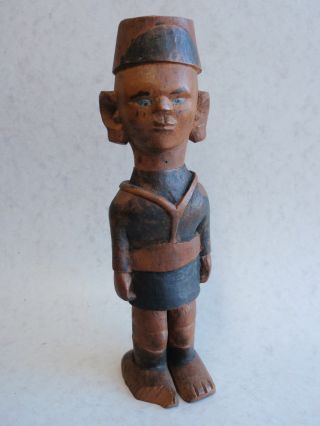 Africa Carved Polychrome Statuette Kamba Kenya Of A Soldier In Uniform photo