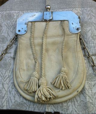 Early 20th Century Scottish Sporran White Suede With Tassels And Silver Plated photo
