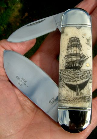 Scrimshaw Nautical,  Tall Ship,  Whale,  2 Blade Folding Knife/knives photo