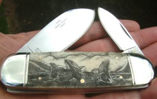 Scrimshaw Art,  Breaching Whales,  Islands,  2 Blade Folding Knife/knives photo