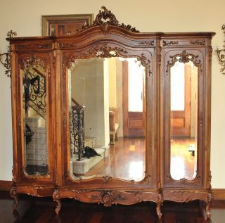 French Armoire Wardrobe A Magnificent Example Of Luis Xv Rococo Carved 3 Doors photo