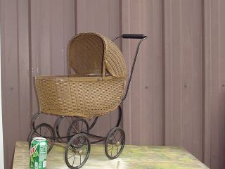 Vintage Wicker Baby Doll Carriage Buggie Stroller Metal 17 X 20