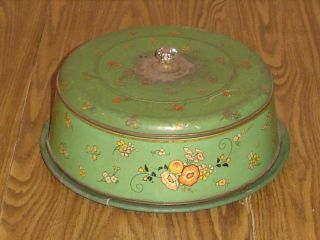 Vintage Tin Cake Saver Wood Plate & Glass Knob Carrier Metal Cover Server Green photo