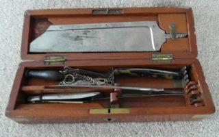 Rare Boxed Victorian Pettie & Whitelaw Antique Surgeon Set Medical Instruments photo