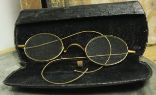 1800 ' S Antique Taw & Co.  Gold Eye Glasses Eyeglasses Spectacles W/case photo