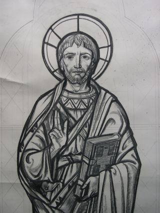 Vintage Church Stained Glass Window Cartoon - St Matthew The Apostle - Unframed photo