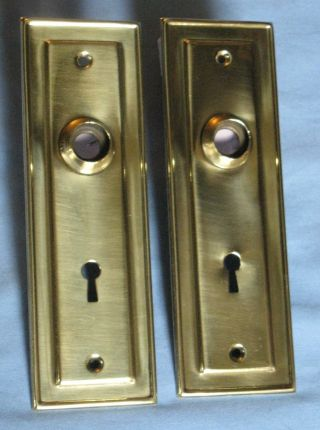 Antique Pair Door Backplates Stamped Brass Ca 1900 7 1/8