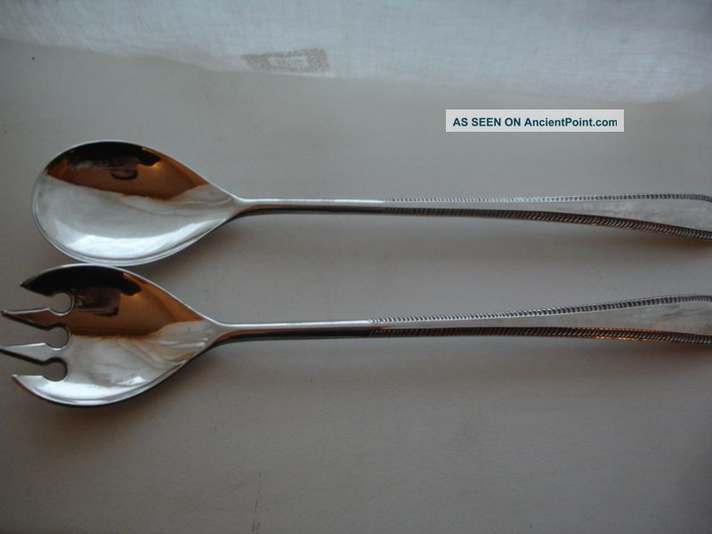 Pair Silverplated Vintage Salad Servers 9 1/2 Inch Other photo