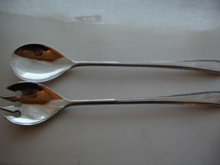 Pair Silverplated Vintage Salad Servers 9 1/2 Inch photo