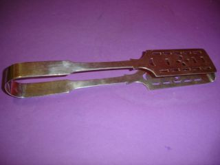Edwardian Silverplate Asparagus Tongs Good Quality Nr photo