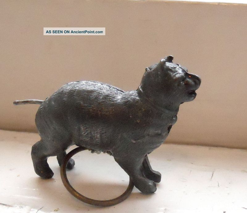 Antique Victorian Vintage Metal Cat Figurine Tape Measure Tail Winds Tape Tools, Scissors & Measures photo