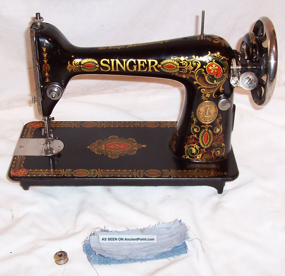 Rare Serviced Antique 1923 Singer 66 - 4 Red Eye Treadle Sewing Machine Works Sewing Machines photo