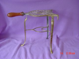 Vintage Solid Brass Filigree Carving Warming Pizza Pot Stand With Wood Handle photo