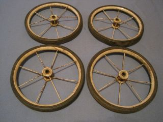 Antique Set Of 4 Baby Buggy Wheels Wire & Hard Rubber Wagons,  Carriages Nr photo
