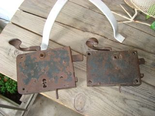 Antique Door Locks Made Germany Two Door Elbow Type Rim Locks 1830 - 1865 photo