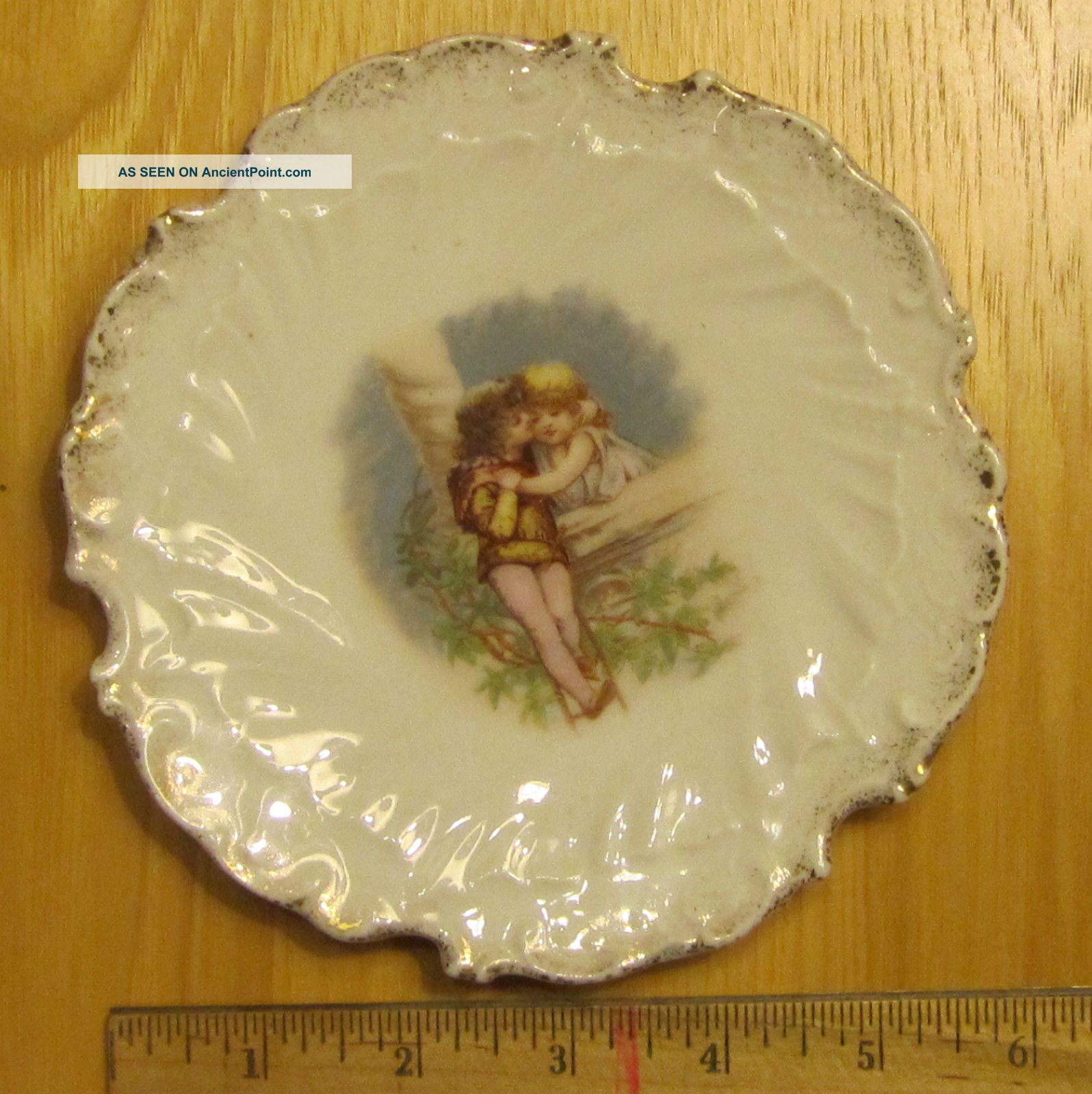 Antique Plate: Romeo & Juliet As Young Children. Signed W 5. Over ...