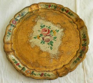 Antique Vintage Italian Tole Tray Florentine Gilded Unusual Painted Flowers photo