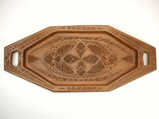 Antique Frisian Chip Carved Serving Tray.  Dutch. photo