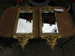 Pair Of 20th Century Brass Mirrors (as Seen On Dickinson ' S Real Deal) photo