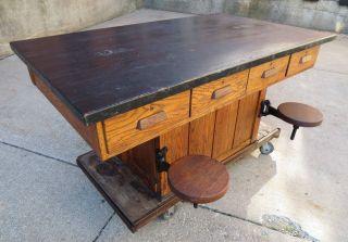 Vintage Oak Wood Chemistry/lab School Table,  Kitchen Island,  Maple Top photo