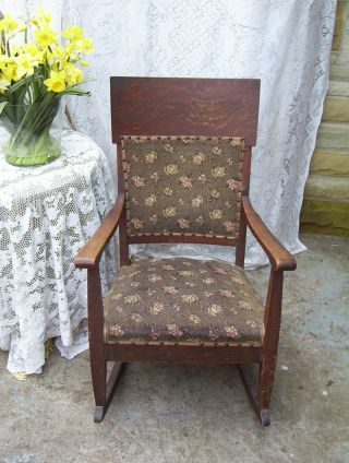 Antique Rocking Upholsterd Chair. .  This Is Rocker - Green Colors photo
