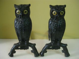 Antique Heavy Arts & Crafts Style Owl Andirons Figural W Yellow Eyes On Branch photo