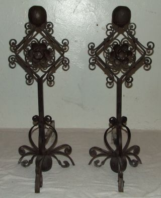 Antique 19th C.  Hand Forged Cast Iron Victorian Floral Fireplace Andirons W/rose photo