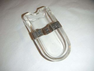 Antique Glass & Silver Ashtray By James Deakin & Sons 1903 photo