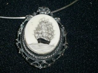 Old Scrimshaw Necklace Or Brooch photo