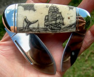Nautical Scrimshaw Art,  Tall Ship,  Whale,  2 Blade Folding Knife/knives photo
