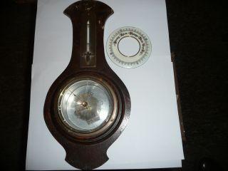 Antique Oak Barometer,  Spares Or Repair Inc Enamel Dial In Good Order. photo