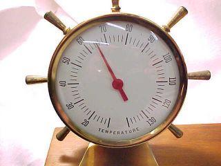 Vtg Desk Boat Weather Gauge Thermometer Nautical Brass Shipe Wheeles Barometer photo