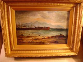 Early Harbor Scene Oil On Canvas photo