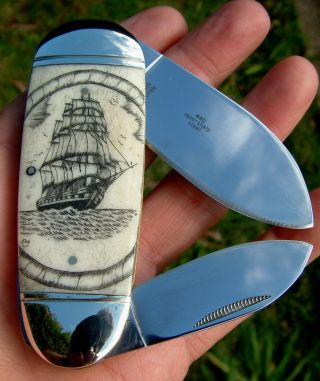Nautical Scrimshaw Art,  Tall Ship,  Ropes,  2 Blade Folding Knife/knives photo
