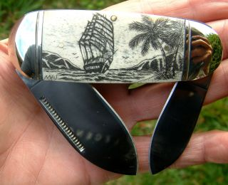Nautical Scrimshaw,  Tall Ship,  Palm Trees,  Island,  Folding Knife/knives photo