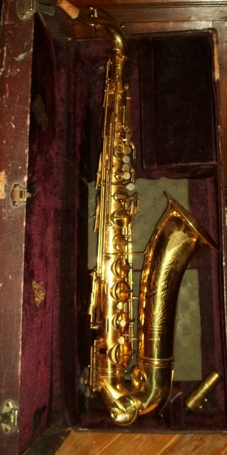 Antique Caravelle Brass Saxophone Mother Of Pearl Antique Horn photo
