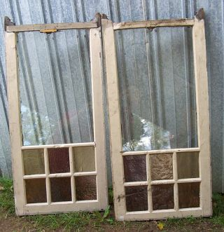 Antique Glass Window 20 5/8 W X 43.  5 Tall Wood& Color Glass 2 Sides photo