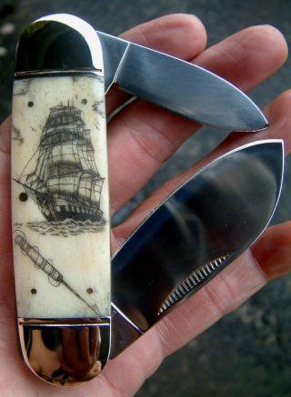 Nautical Scrimshaw Art,  Tall Ship,  Harpoon,  Folding Knife/knives photo