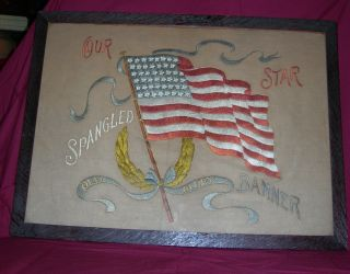 Antique Hand Embroidery 47 Star American Flag Our Star Spangled Banner Old Glory photo