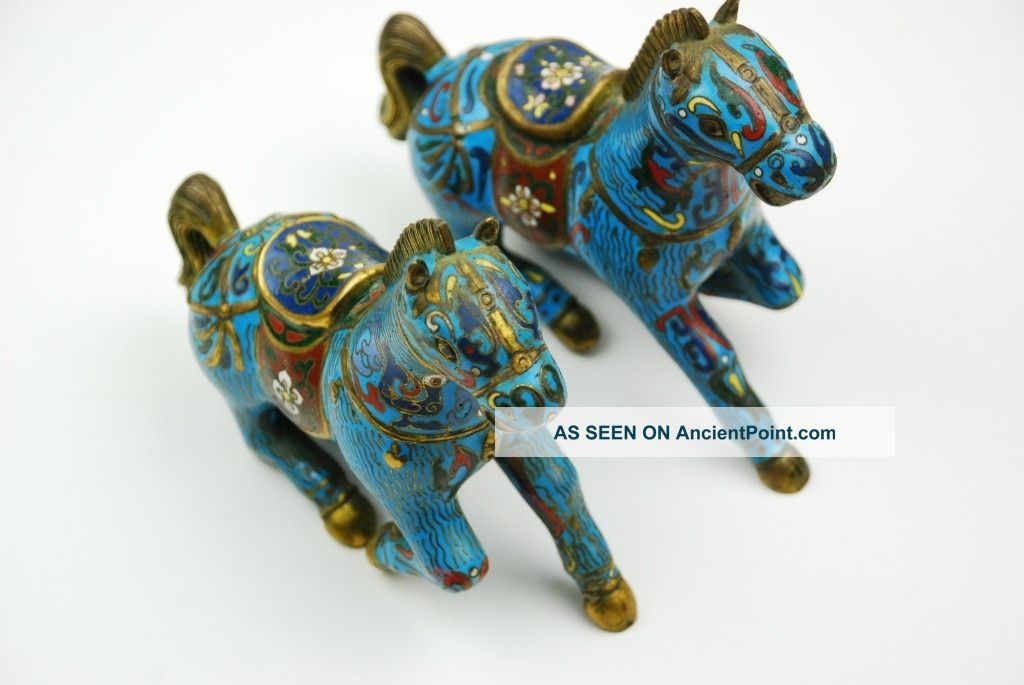 Chinese Old Cloisonne Carved Flower Pattern Horses Reproductions photo